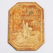 'Colonial & Indian' Exhibition Bi-Fold Presentation Leather Ticket, 1886, closed 2.8 x 2 in — 7.2 x