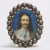 'Stuart Crystal' Charles I of England Diamond Mounted Silver and Gold Mourning Slide, mid 17th centu