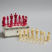Vizagapatam Cased Ivory Chess Set, 19th/early 20th century, king height 3.5 in — 9 cm; 3.25 x 7.75 x