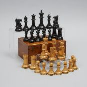 J. Jaques & Sons Boxwood and Ebony Staunton Pattern Chess Set, London, c.1930, king height 3.9 in —