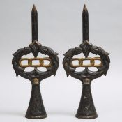 Pair of Large Victorian Oddfellows Cast Iron Finials, 19th century, height 17.5 in — 44.5 cm