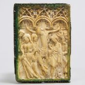 French Gothic Relief Carved Ivory Panel of the Crucifixion, 14th century, 3 x 2.2 in — 7.5 x 5.5 cm