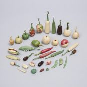 Collection of 32 Indian Carved and Stained Ivory Didactic Botanical Models of Fruit, Vegetables and