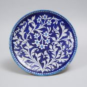 Multan Cobalt Blue and Turquoise Pottery Dish, Islamic Pakistan, 18th/19th century, diameter 14.6 in