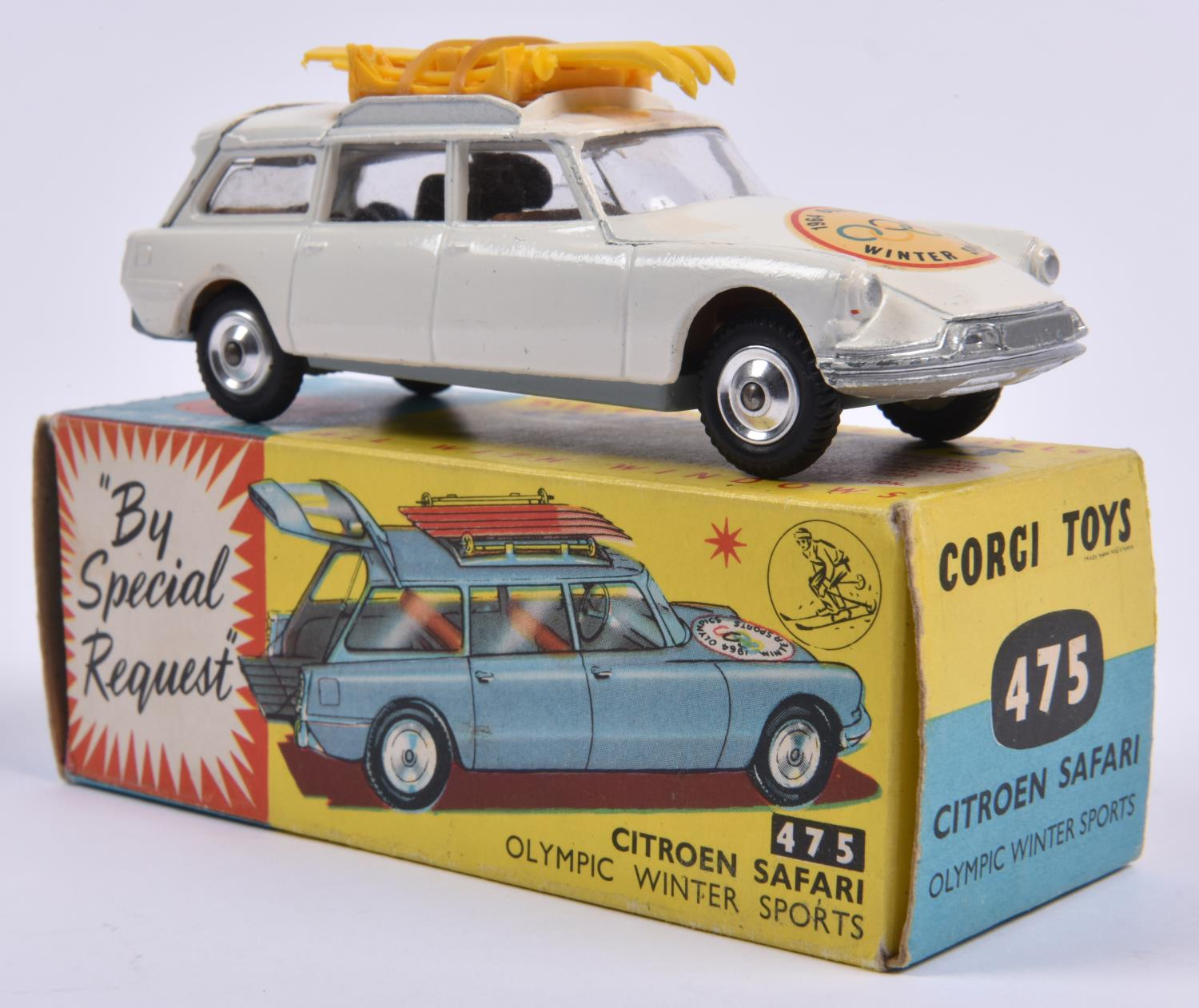 Lot 303 - Corgi Toys Citroen Safari Olympic Winter Sports (475). In white with skis and poles to roof, 1964