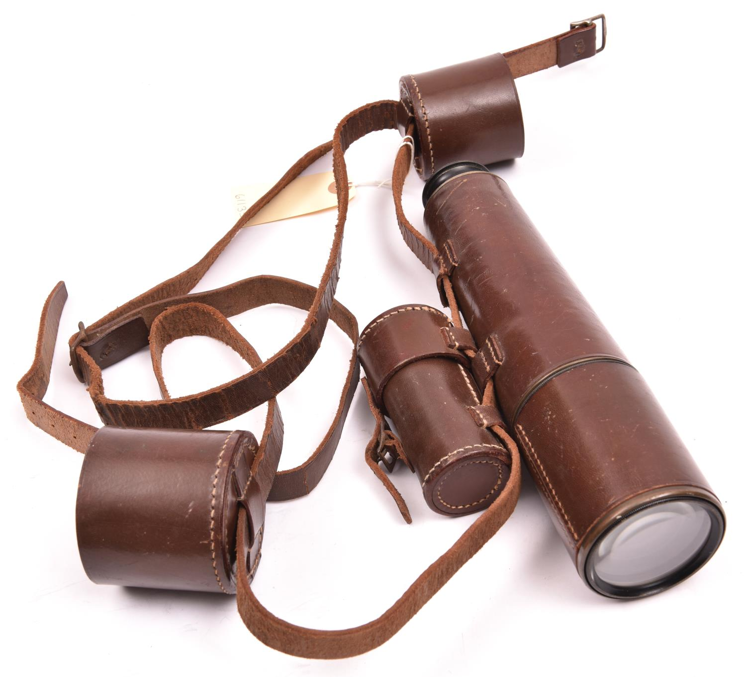 """Lot 533 - A good 3 draw telescope """"Signalling"""" by Dolland, London, No 13083, length extended 29"""", brown"""