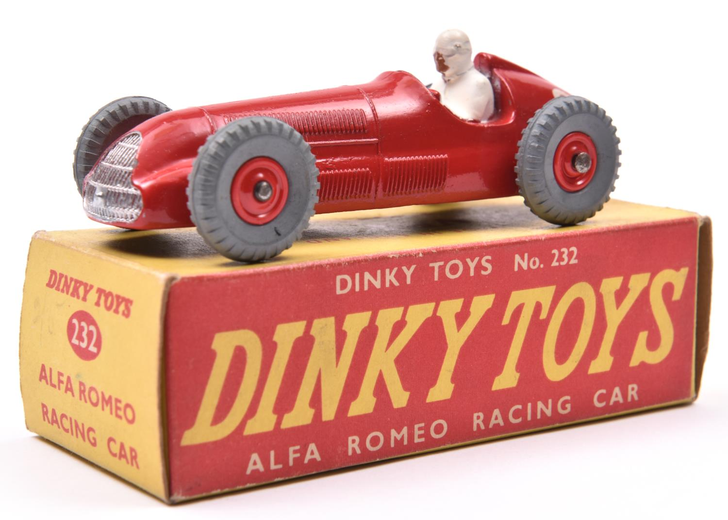 Lot 1430 - A rare Dinky Toys Alfa Romeo Racing Car (232). In red, RN8, example with red plastic wheels and grey