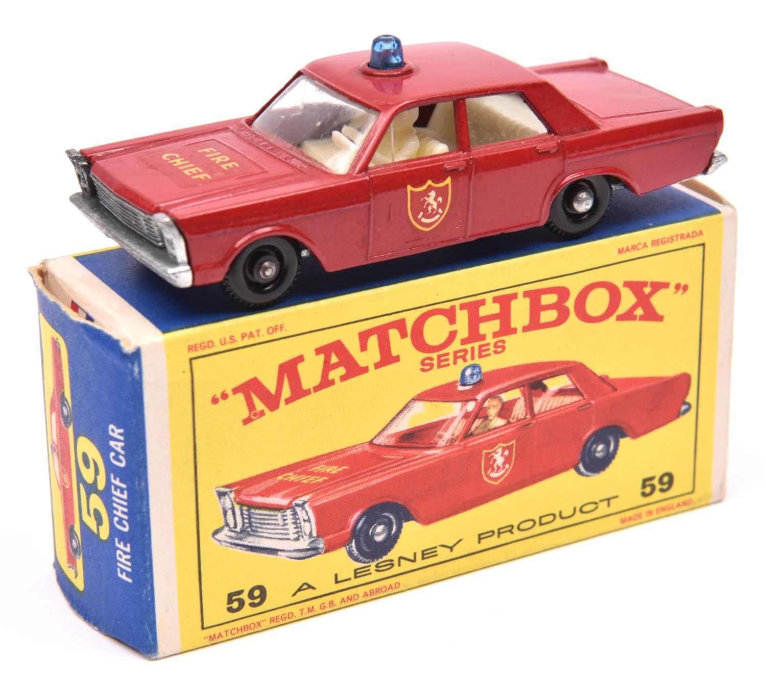 Lot 1233 - Matchbox Series No.55 Ford Galaxie Fire Chief Car. In red with white interior, FIRE CHIEF & shield