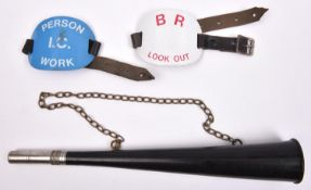 A BR Look-out horn in black plastic, moulded with 'BR Acme Made in England' near the bell.