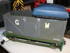 A 5 inch gauge driving truck presented as a GWR style 10-ton open wagon. For ground level running
