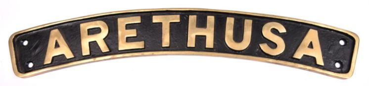 A reproduction brass locomotive name plate for an LMS Jubilee Class 4-6-0 tender locomotive;
