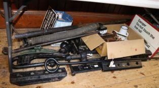 A quantity of Railwayana. Including cast iron items; fish plates, vacuum brake hose, track spanner
