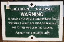 An SR cast iron sign. Southern Railway Warning Not To Trespass Upon The Railway' sign. Approx