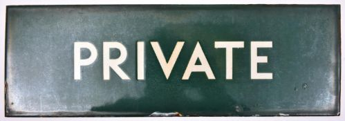 A BR enamelled station sign; PRIVATE. White lettering on green background. Mead McLean & Co.