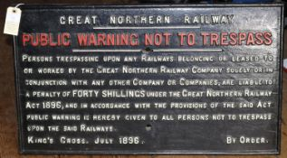A GNR cast iron sign. Great Northern Railway 'Public Warning Not To Trespass' sign. King's Cross