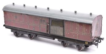 A Gauge One railway Carette for Bassett Lowke LMS 1924 Royal Mail TPO coach. Travelling Post