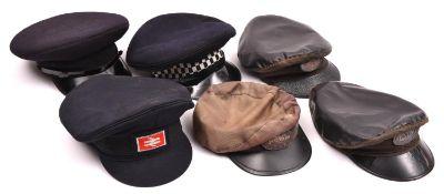 6x railway etc uniform caps. Including a Fireman's cap (N.F.S. 9C) size 7. A BR cap with logo (