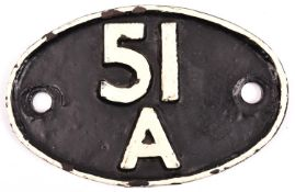 A 51A Darlington shed plate. Black background with white lettering. GC, some restoration and back