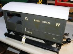 A 5 inch gauge guard's truck presented as a GWR style 20-ton brake van 'Park Royal'. For ground