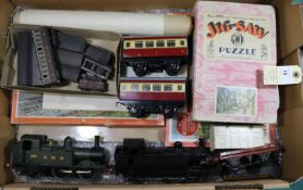 Small quantity of O gauge model railway. 2x kit built tank locomotives. An LMS/BR 0-6-0 in unlined