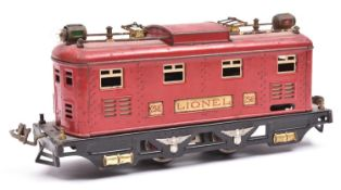An impressive Lionel O Gauge 3-rail electric powered 4 wheeled locomotive. in the style of a