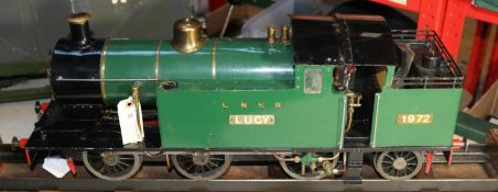 A 3.5 inch gauge live steam LBSC locomotive 'Mona'. An LNER 0-6-2T loco in green livery, 'Lucy'