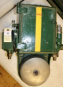 A GWR locomotive cab AWS Warning Bell in green painted cast case with brass tag to side, 261. Approx