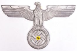 "A Third Reich cast aluminium wall eagle, wingspan 15"" (38cm), with no means of mounting GC Not"