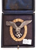 "A Third Reich Pilot Observers badge, gilt wreath, eagle marked ""W Deumer Ludenscheid"". VGC in its"