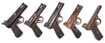 """3 air pistols: pre 1958 .22"""" Webley Mark I, number 429, GWO & QGC (worn with patches of rust and"""