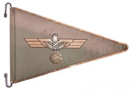 "A Third Reich vehicle pennant, 13"" x 9"", light green material with eagle and swastika embroidery. GC"