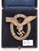 "A Third Reich Luftwaffe Pilot's badge, marked on reverse ""C E Juncker Berlin SW6"" in its case. GC ("
