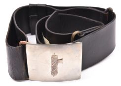 A WWII Italian Fascist black leather waist belt, with WM rectangular buckle. GC £190-200