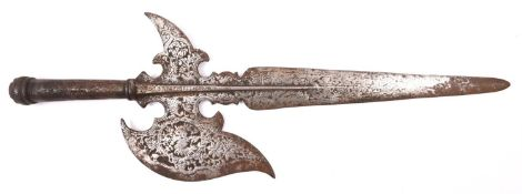 "A embossed cast iron halberd head, 24"". GC £40-50"