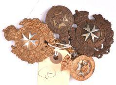 5 OR's Malta cap badges: Militia 1889-1903, King's Own Malta Regt 1931-53; R Malta Art 1889-1901;