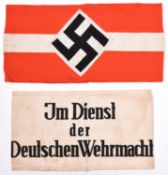 A Third Reich Hitler Youth linen armband, with applied woven device and original paper RZM label,