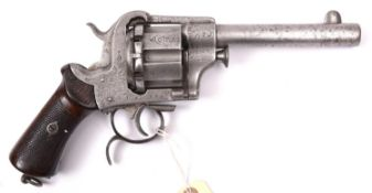 A massive Belgian 6 shot 15mm Guerriero's patent closed frame double action pin fire revolver, c