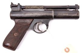 "A pre-1958 .22"" Webley Senior air pistol, number 705. GWO & C, retaining some original blued"