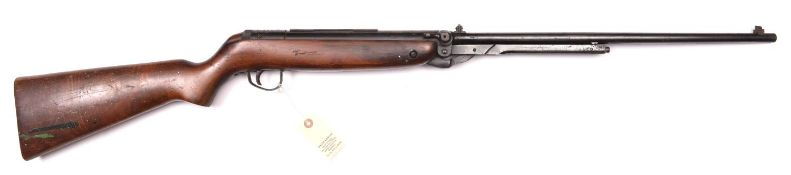 "A .22"" Webley Mark 3 Series 4 air rifle, number 44187, walnut stock having nicely figured butt."