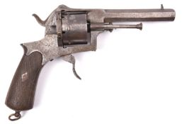 A Spanish military style 6 shot 12mm solid closed frame double action pinfire revolver, c 1870,