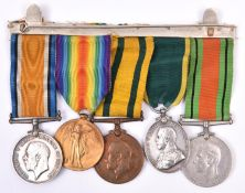 Five: BWM, Victory, Territorial War Medal (T. 1350 Pte S Elger, The Queen's Regt); Territorial