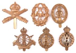 6 WWI and later Corps cap badges: Machine Gun Corps, 11 spoke Cyclist Corps, WAAC with blades, bi-