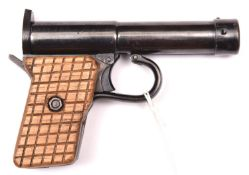 """A German .177"""" Tell II air pistol, c 1927-36, the air cylinder marked """"D.R.G.M. Tell II D.R.P"""" and"""