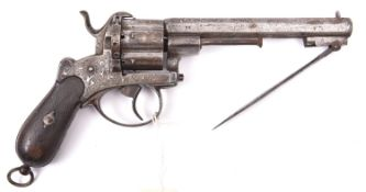 A Spanish 6 shot 12mm double action pinfire revolver with folding knife bayonet, c 1865, number 25,