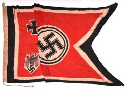 "A good Third Reich swallow tailed banner 56"" x 33"" printed eagle and swastika and Maltese cross,"