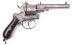 A Belgian 6 shot 12mm Lefaucheux double action pinfire revolver by Francotte, c 1865, number 101413,