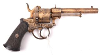 A lightly gold plated Belgian 6 shot 9mm Lefaucheux type double action pinfire revolver, c1865,