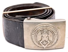 A Third Reich Hitler Youth nickel alloy buckle, GC, on its black patent leather belt by Courier (