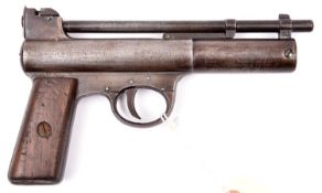 """A pre-war .177"""" Webley Mark I air pistol, number 40530, with full patent markings on both sides,"""