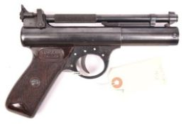 """A .22"""" Webley Premier """"E"""" series air pistol with blued finish, batch number 168, date stamp """"6 71"""""""